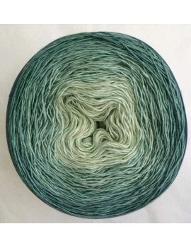 Fil Single Fingering 75 % Mérinos 25 % Soie gradient yarn cake vert de gris