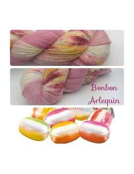 "Single fingering Alpaga & Soie ""Bonbon Arlequin"""