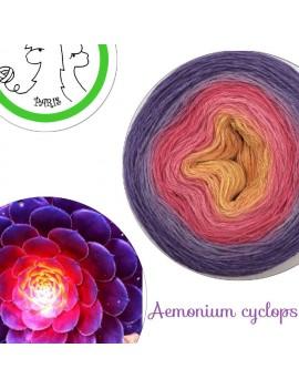 "Fil fingering Alpaga Soie (long gradient yarn cake) ""Aemonium Cyclops"""