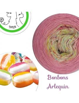 "Fil fingering Alpaga Soie (long gradient yarn cake) ""Bonbons Arlequin"""