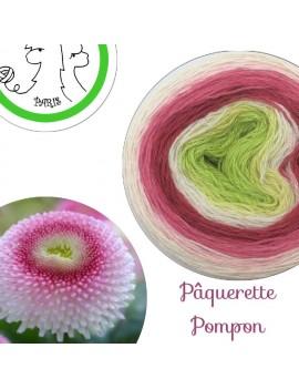 "Fil fingering Alpaga Soie (long gradient yarn cake) ""Pâquerette Pompon"""