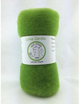"""Laine cardée 100 % Mouton Ile de France """"Vert Mousse"""""""