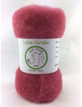 """Laine cardée 100 % Mouton Ile de France """"Framboise"""""""