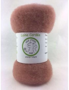 """Laine cardée 100 % Mouton Ile de France """"Vieux Rose"""""""
