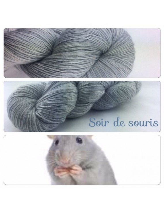 """""""Soir de Souris"""" Fil Single Fingering Mérinos et Soie"""