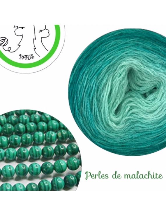"""Perles de Malachite"" Fil fingering Baby Alpaga et Soie (long gradient yarn cake)"