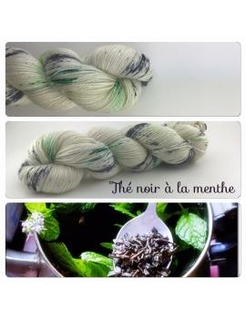 """""""Thé Noir à la Menthe"""" Fil fingering Alpaga & Soie"""