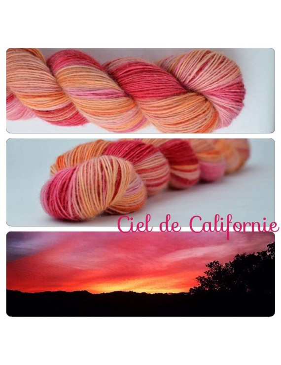 """Ciel de Californie"" Single fingering Alpaga Rose Fiber"