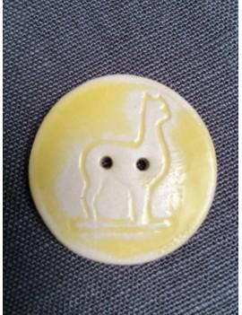 Bouton alpaga en céramique émaillée jaune