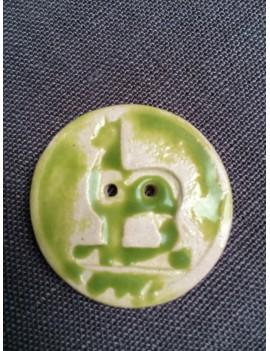 Bouton alpaga en céramique émaillée vert
