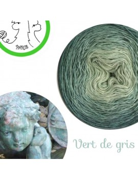Fil Single Fingering 75 % Mérinos 25 % Soie gradient yarn cake vert de gris