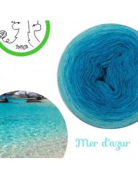 """Fil Lace Mérinos et Soie (long gradient cake yarn) """"Mer d'Azur"""""""