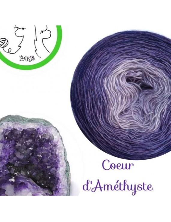 """Fil Single Fingering Mérinos et Soie (long gradient yarn cake) """"Coeur d'Améthyste"""""""