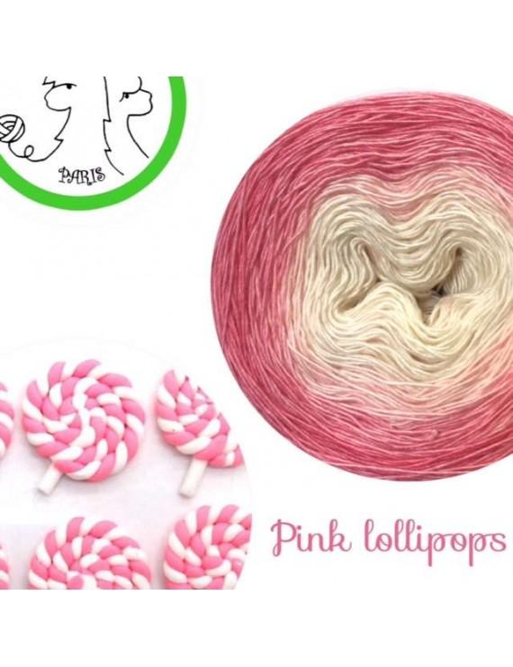 "Fil Single Fingering Mérinos et Soie (long gradient yarn cake) ""Pink Lollipops"""