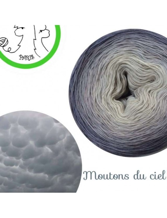 "Fil Single Fingering Mérinos (long gradient yarn cake) ""Moutons du Ciel"""
