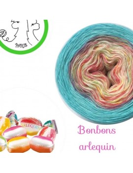 "Fil Single Fingering Mérinos (long gradient yarn cake) ""Bonbons Arlequin Turquoise"""
