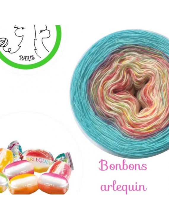 "Fil Single Fingering Mérinos (long gradient yarn cake) ""Bonbons Arlequin Turquoise"""