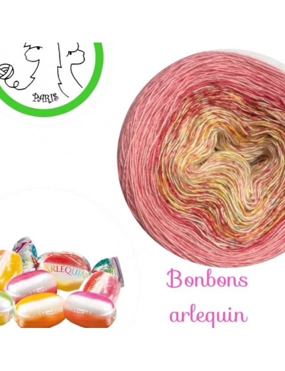 "Fil Single Fingering Mérinos et Soie (long gradient yarn cake) ""Bonbons Arlequin"""