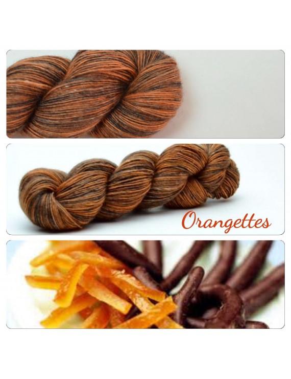 """Single fingering Alpaga Seacell """"Orangettes"""""""