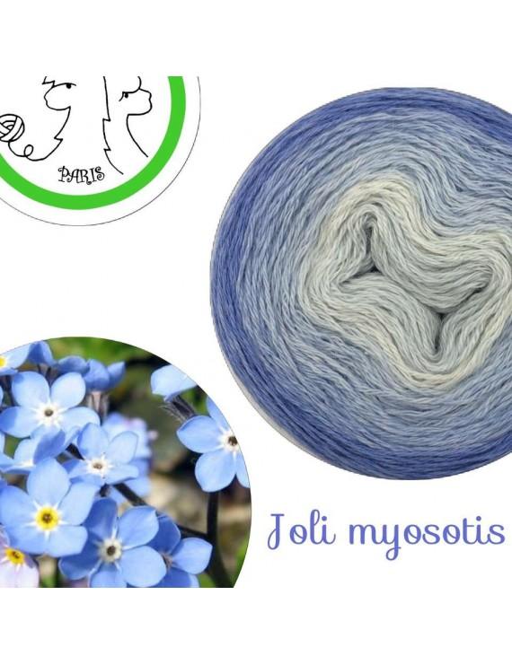 "Fil fingering Alpaga Soie (long gradient yarn cake) ""Joli Myosotis"""