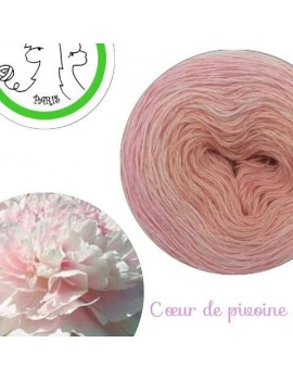 "Fil fingering Alpaga Soie (long gradient yarn cake) ""Coeur de Pivoine"""
