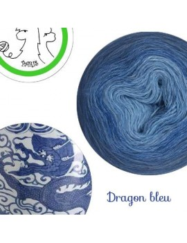 "Fil fingering Alpaga Soie (long gradient yarn cake) ""Dragon Bleu"""