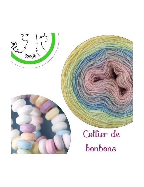 "Fil Single Fingering Mérinos (long gradient yarn cake) ""Collier de Bonbons"""