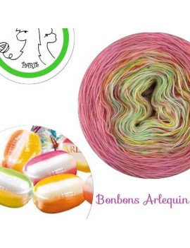 """Bonbons Arlequin""Fil Single Fingering Mérinos (long gradient yarn cake)"