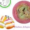 """Fil Single Fingering Mérinos (long gradient yarn cake) """"Bonbons Arlequin"""""""