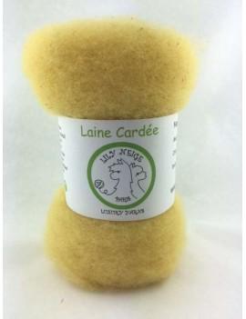 """Laine cardée 100 % Mouton Ile de France """"Paille"""""""