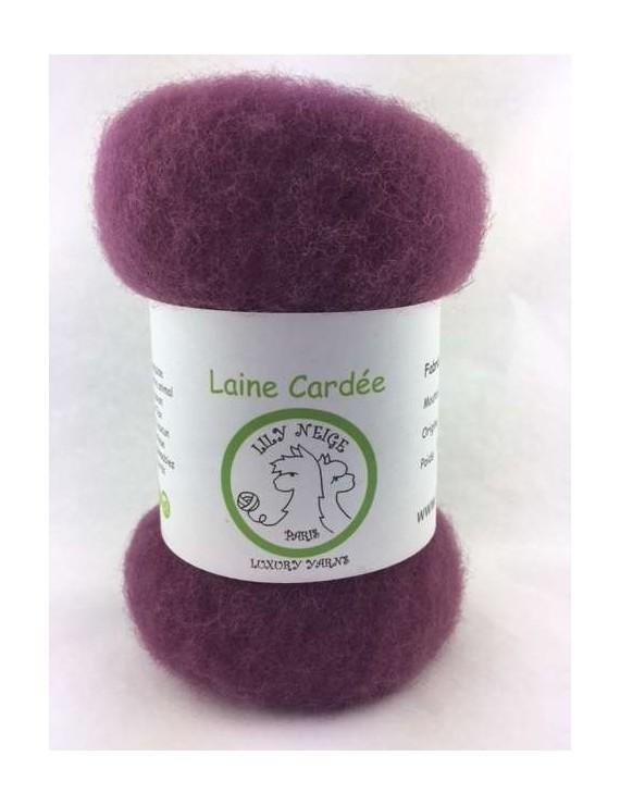 """Laine cardée 100 % Mouton Ile de France """"Prune"""""""