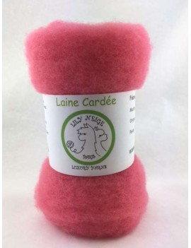"Laine cardée 100 % Mouton Ile de France ""Bubble Gum"""