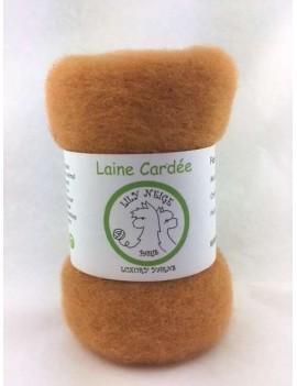 """Laine cardée 100 % Mouton Ile de France """"Abricot"""""""