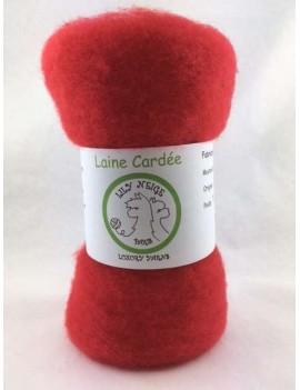 """Laine cardée 100 % Mouton Ile de France """"Rouge Noël"""""""