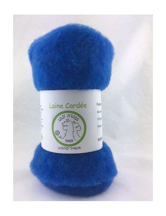 """Laine cardée 100 % Mouton Ile de France """"Bleu Eclair"""""""