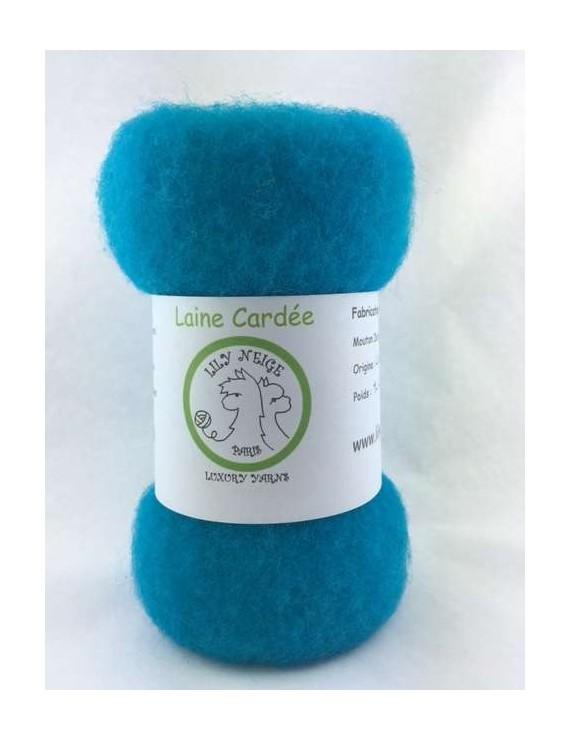 """Laine cardée 100 % Mouton Ile de France """"Turquoise"""""""