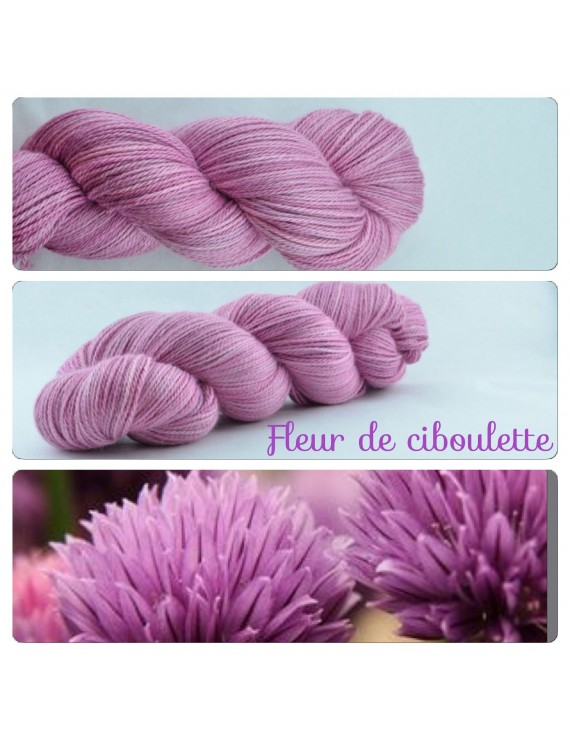 """Fil fingering Alpaga & Soie """"Fleur de Ciboulette"""""""
