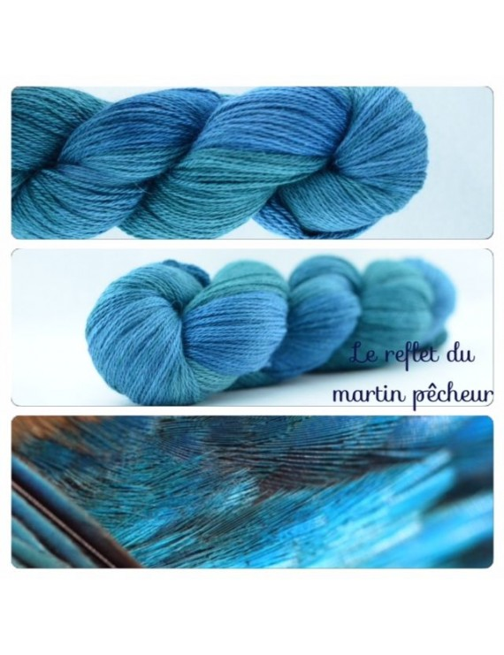 """Le Reflet du Martin Pêcheur"" Fil fingering Alpaga & Soie"