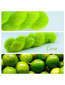 """Lime"" Fil fingering 100 % Angora Français"