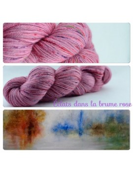 """Eclats dans la Brume Rose"" Fil fingering Alpaga & Soie"