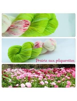 """""""Prairie aux Pâquerettes"""" Fil fingering Alpaga & Soie"""