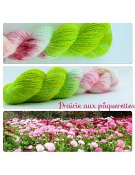"""""""Prairie aux Pâquerettes"""" Fil fingering 100 % Angora Français"""