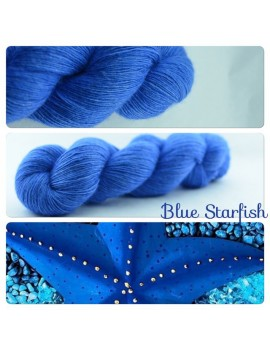 """Blue Star Fish"" Single fingering Alpaca Seacell"