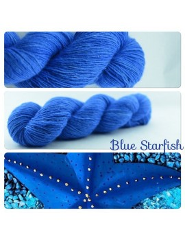 """Blue Star Fish"" Single fingering Alpaca Silk Angelina"