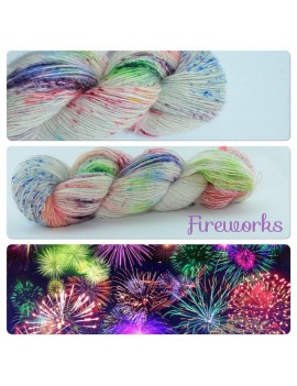 """Fireworks"" Single fingering Alpaca Silk Angelina"