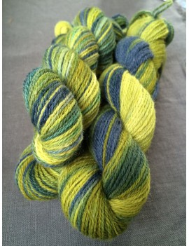 "Fil fingering Alpaga Bambou Nylon ""Sunshine Blue Wings"""
