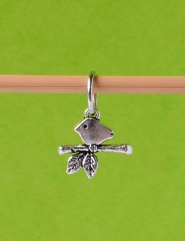BIRD ON A BRANCH Stitch Marker