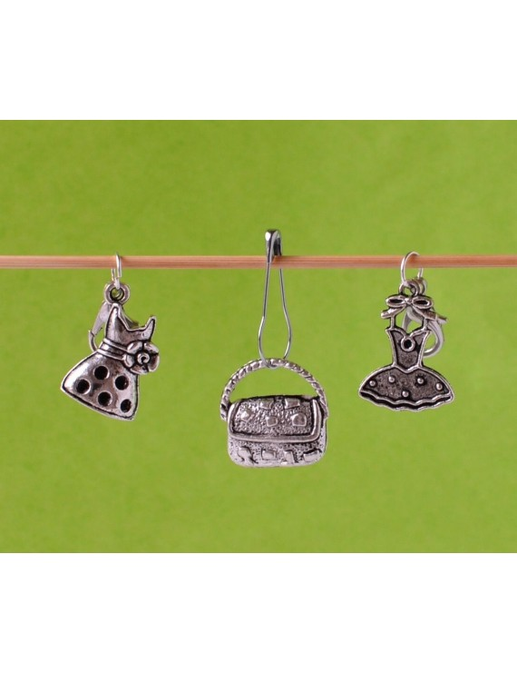"""Handbag and Dresses"" Removable Stitch Markers"