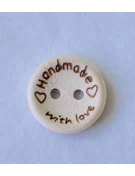 """Handmade with Love"" Bouton Bois"