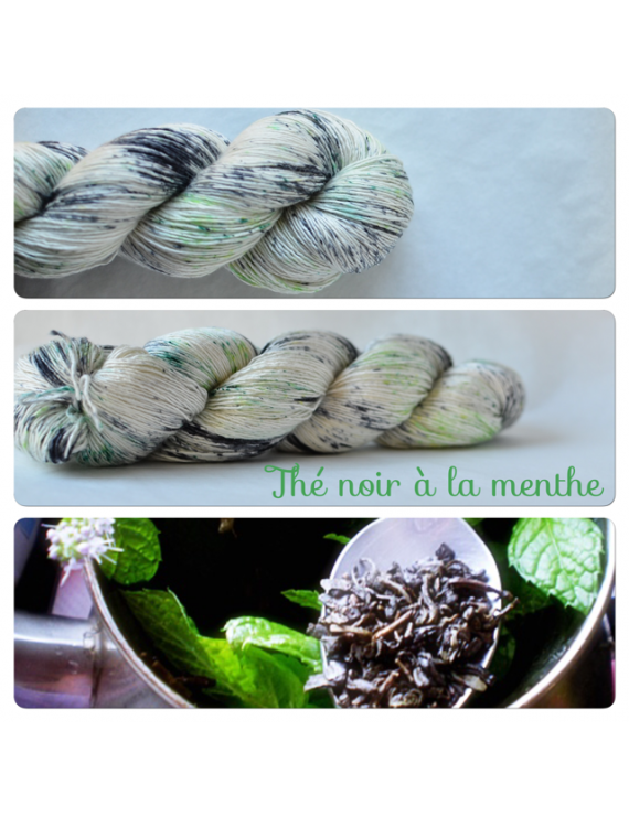 """""""Thé Noir à la Menthe"""" Single Fingering Merino Yarn"""